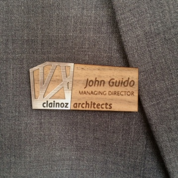 Silver & Wood Name Badge